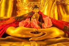 Small Buddha Sakyamuni statue in hands of large. Buddha in Tibetan Buddhist temple. Himachal Pradesh, India royalty free stock image