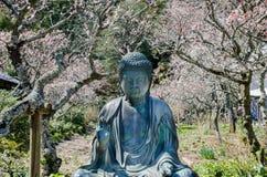 Small Buddha statue on blooming sakura background. Kamakura. Japan royalty free stock photo
