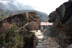 Small buddhist temple at Everest trail, Nepal Royalty Free Stock Photography