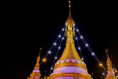 Small Buddhist temple at night. Beautiful Buddhist temple Wat Chong Klang in downtown Mae Hong Son at night Stock Images
