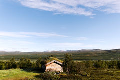 Small building in Norway mountain. Royalty Free Stock Photo