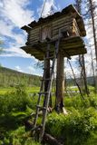 A small building on a pole. Landscape with hunting house. Siberia, Russia Stock Images