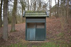 Small building in a petting zoo. A small building of unknown purpose in a Dutch petting zoo royalty free stock images