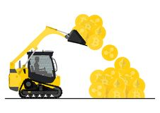 Bulldozer loaded with cryptocurrencies. Small bulldozer loaded with cryptocurrencies. Flat vector illustration Stock Photos