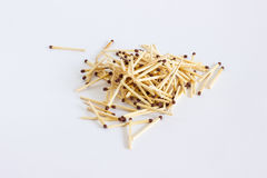 A small bunch of ignition matches. A bunch of matches on a white close-up Royalty Free Stock Photography