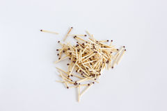 A small bunch of ignition matches. A bunch of matches on a white close-up Royalty Free Stock Image