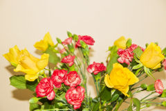 Small bunch of roses and carnations Royalty Free Stock Photography