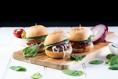 Party beef burgers sliders share. Small burger sliders for share mayo onion board sharing platter party food beer Royalty Free Stock Photos