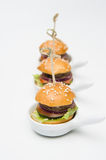 Small burgers with beef and vegetables Royalty Free Stock Photo