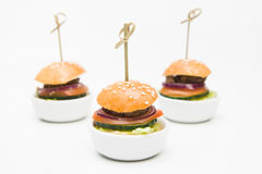 Small burgers with beef and vegetables Royalty Free Stock Photos