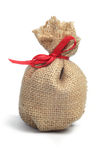 Small burlap  pouch Royalty Free Stock Images