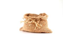 Small burlap sack isolated Stock Photography