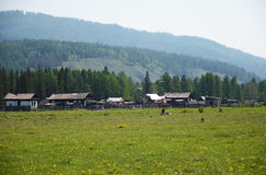 Small Buryat village in the foothill of East Sayan Mountains Stock Images