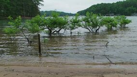 Flooded beach at the lake