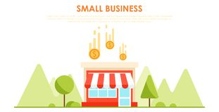 Small business banner. The shop is profitable. Horizontal background with trees and mountains Royalty Free Stock Photos