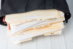 Small business bookkeeping files Stock Image