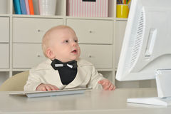 Small  business boy and computer Royalty Free Stock Photo