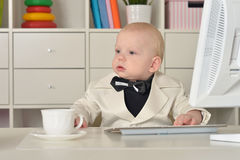 Small  business boy and computer Stock Photo