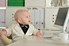 Small  business boy and computer Stock Image