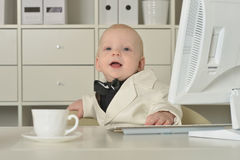 Small  business boy and computer Royalty Free Stock Image