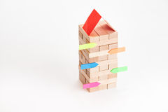 Small business building with wood cube and sticker. Small business building with small wood cube Stock Image