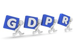 Small 3d character with GDPR. Small business character with the letters GDPR, General Data Protection Regulation, 3d concept rendering Stock Photo