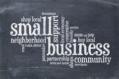Small business concept - word cloud on blackboard Stock Images