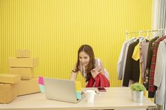 Free Small Business Concept. Young Seller Working Online At Home With Wireless Network Technology Royalty Free Stock Photography - 134748937