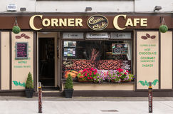 Small business Corner Coffee shop in Galway, Ireland. Galway, Ireland - August 3, 2017: Small business Corner Coffee Shop with brown and beige facade, open door stock photo