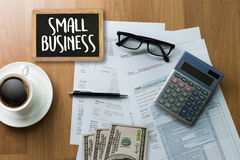 Small business displayed Ideas Workshop / Small business concep. T stock images