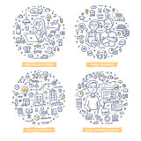 Small Business Doodle Illustrations. Doodle  concepts of freelancing, running family business, growing business and managing finances. Small business Stock Photos