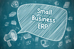 Small Business ERP - Doodle Illustration on Blue Chalkboard. Stock Image