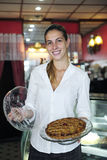 Small business: female owner of a cafe stock photo