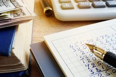 Small business finances. Accounting book and calculator. Small business finances. Money, accounting book and calculator Royalty Free Stock Photo