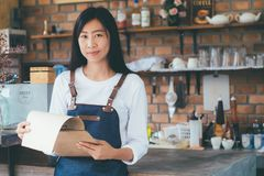Young startup owner small cafe shop. royalty free stock photos