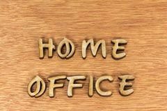 Small business home office sign wood letters. Home office small business home work wooden letters sign message background typography royalty free stock photography