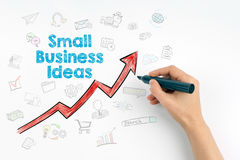 Small Business Ideas concept. Hand with marker writing.  royalty free stock photos