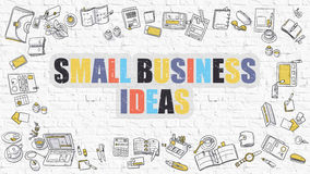 Small Business Ideas on White Brick Wall. Stock Photos