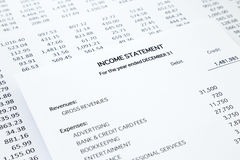 Small business income statement Royalty Free Stock Photo