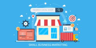 Small business marketing, local business optimization, seo marketing, internet advertisement for small shops. Flat design banner. Small business and local shop Vector Illustration