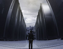 Small business man standing in big data center Royalty Free Stock Photos