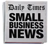 Small Business Newspaper Headline Report. Spinning 3d Illustration Stock Images