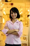 Small business owner. Portait of small business owner: proud woman opening her store stock photos