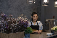 Small business owner at her coffee shop. happy asian woman stand Royalty Free Stock Photography