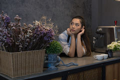 small business owner at her coffee shop. happy asian woman stand Stock Image
