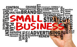 Small business with related word cloud handwritten on blackboard Stock Photography