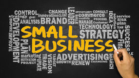 Small business with related word cloud handwritten on blackboard Stock Images