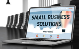 Small Business Solutions on Laptop in Conference Hall. Stock Photos