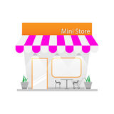 Small business tower. Mini shop building. vector illustration stock illustration