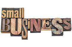 Small business typography in letterpress wood type Royalty Free Stock Photos